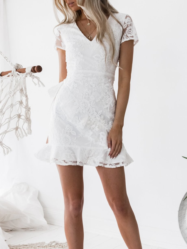 Sleeves Lace Solid Ruffled Mini Dress