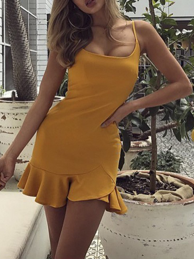 Solid Sleeveless Spaghetti Strap Backless Dress