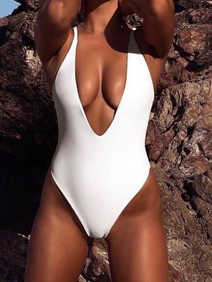 Solid Deep V High Cut Push Up Swimwear One Piece