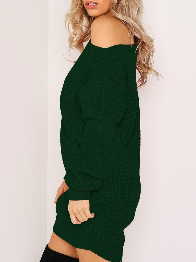 Long Sleeves Strapless Solid Color Sweater Dress