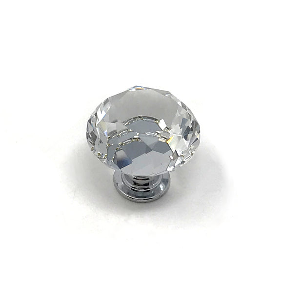30mm Crystal/Polished Chrome Knob with Backplate