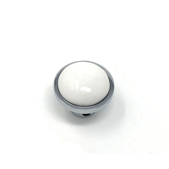 34mm White/Polished Chrome Knob
