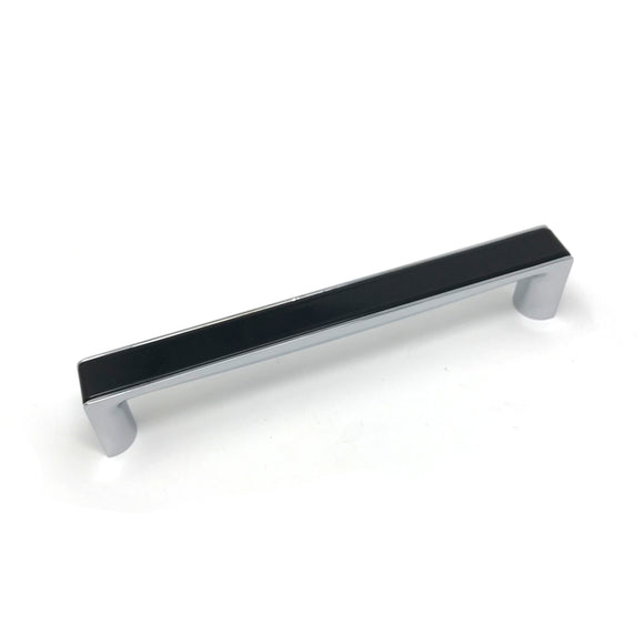 160mm Gloss Black/Polished Chrome Square D Handle