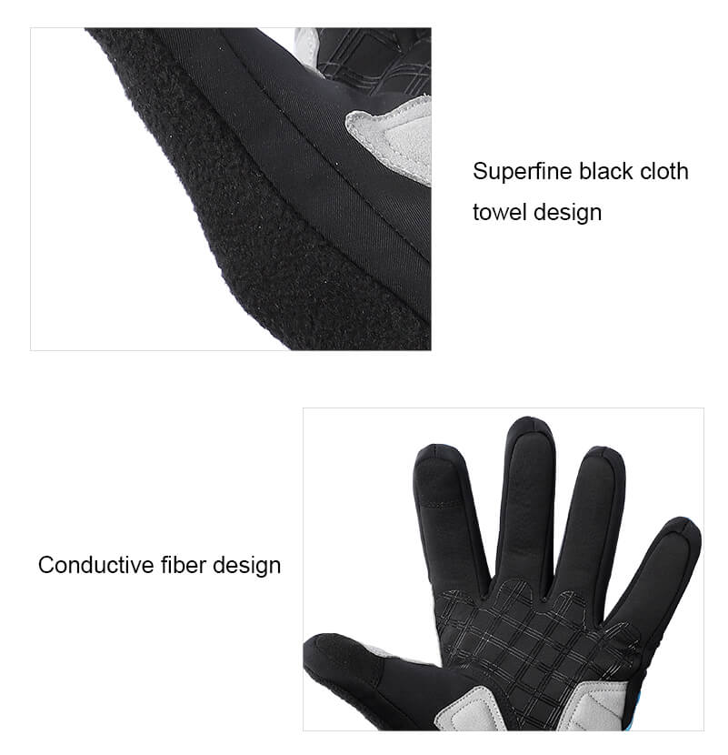 full finger gloves with sweat towel