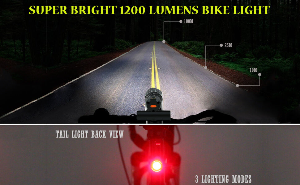 USB Rechargeable Bike Light, 1200 Lumens Bicycle Headlight Free Bike Rear light, Super Bright T6 Cree LED Front Headlight Lamp Warning Taillight for Mountain, Road, Kids, City Cycling Safety