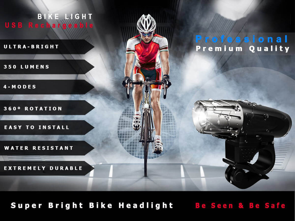 Bicycle Light Front USB Rechargeable Super Bright Headlight IPX5 Waterproof Easy Install Accessories Safety Mount Power USB flexible Lithium Battery Lithium Battery Water Resistant  Quick Release