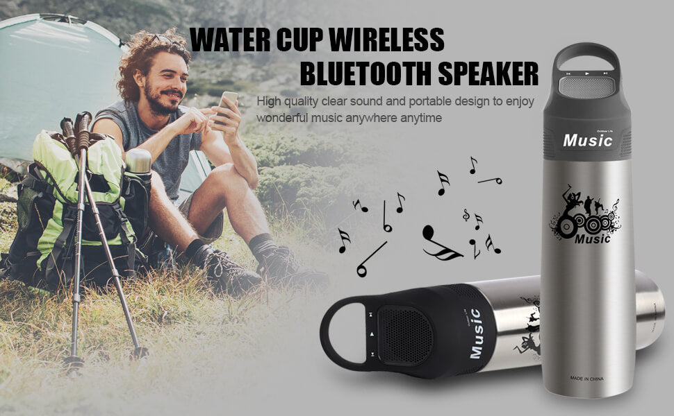 outdoor water bottle Insulated Mug thermos waterproof beach ice stuf music boombottle bluetooth speakers wireless vacuum cup louder sports bike speeker gifts cool stuff indoors kettle canteen watering stainless steel Water Goblet water pitcher clear