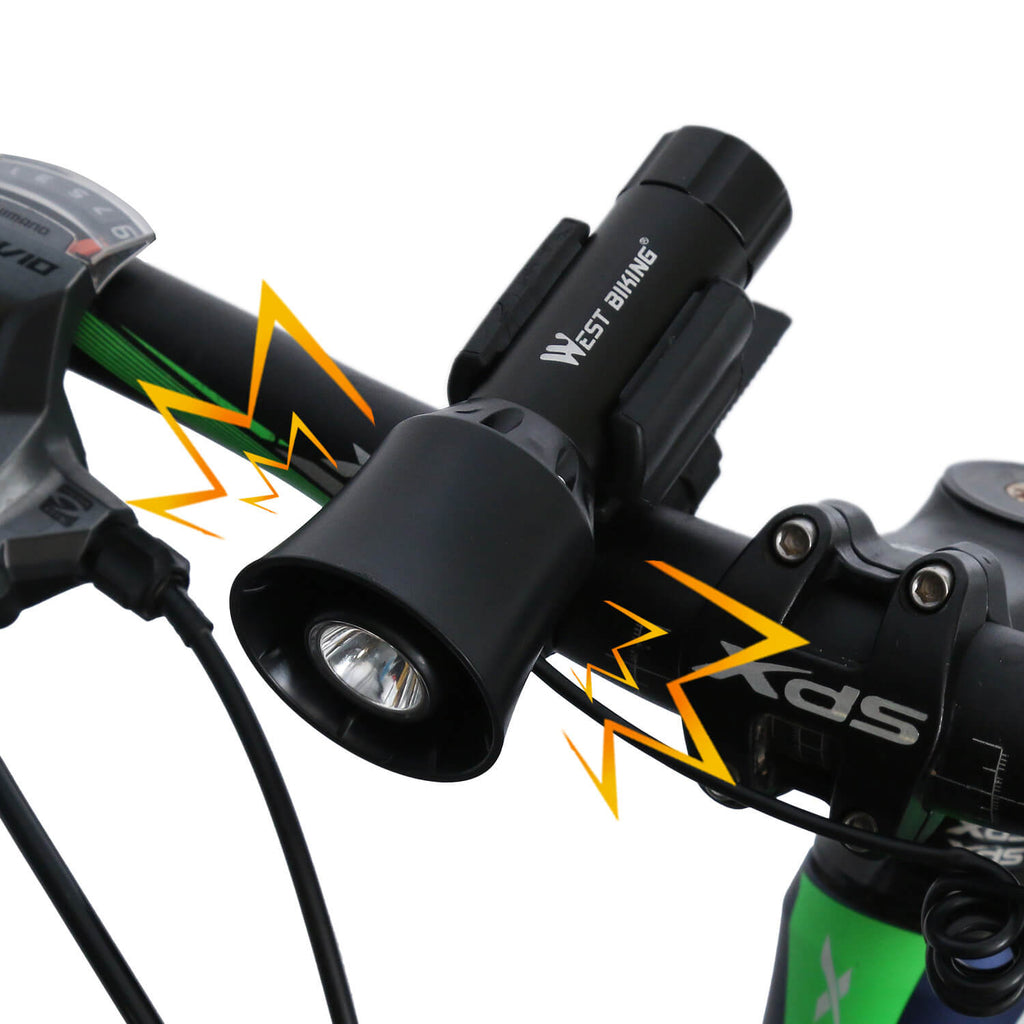 Bicycle Front Lamp Head Light with Alarm Horn Bell - WEST BIKING