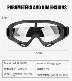 Adjustable  Outdoor Glasses , Motorcycle Goggles Prevent Dust-Proof Particulates and Fog - WEST BIKING