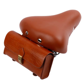 Retro Bicycle Tail Bag PU Leather - WEST BIKING
