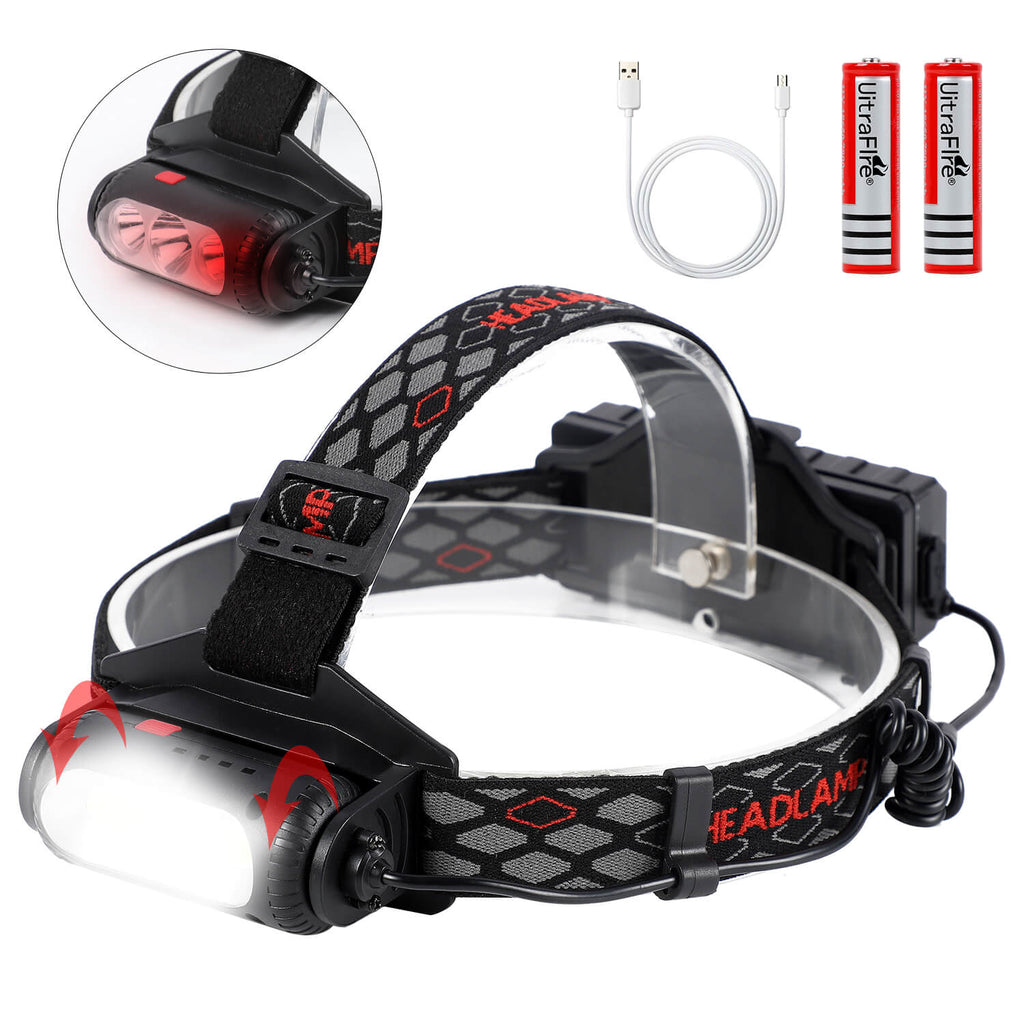 360° Adjustable Beam LED Headlamp, USB Rechargeable - WEST BIKING