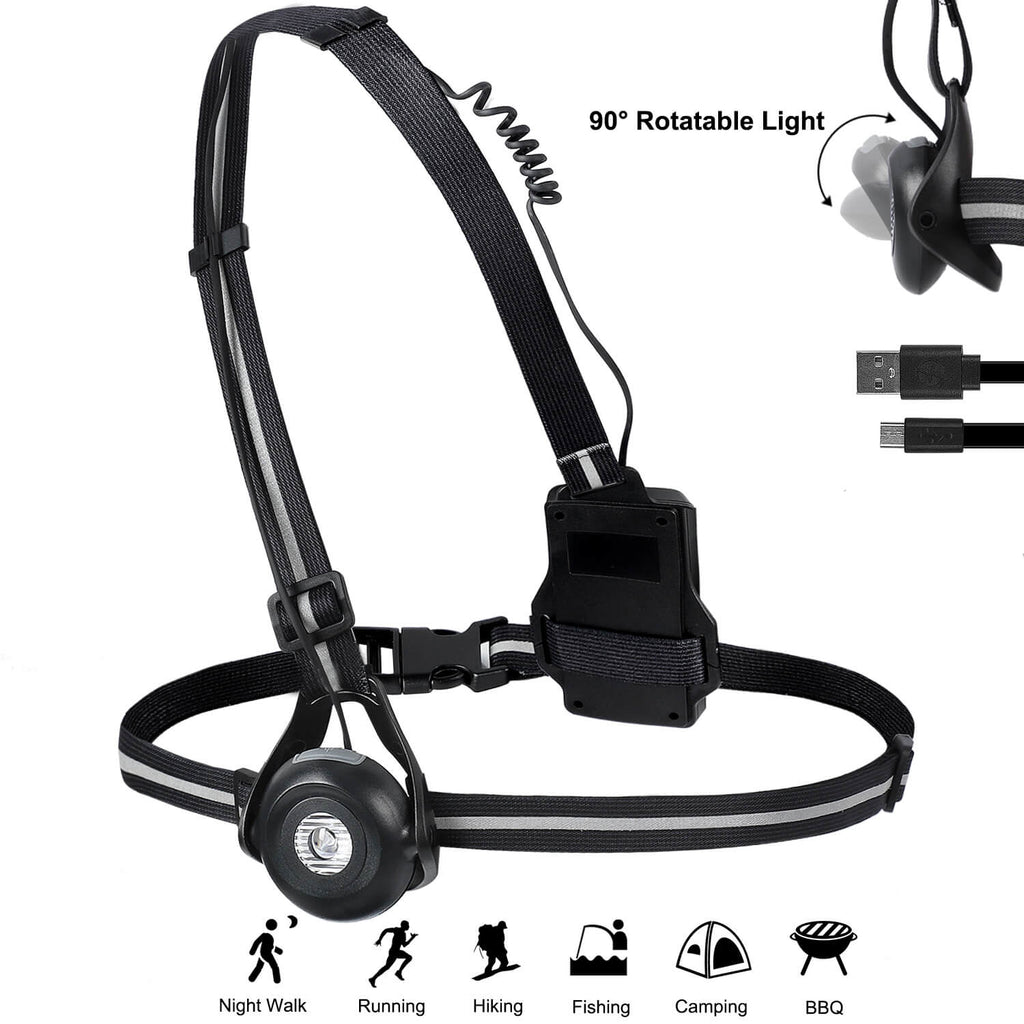 Chest Run Light with 360° Reflective Band, 90° Adjustable Beam, 500 Lumens