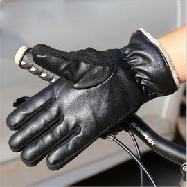 Winter Warm Gloves PU Leather Velvet Lined- WEST BIKING