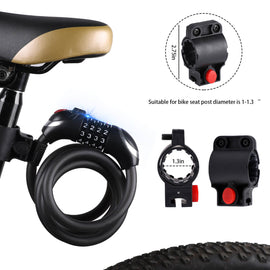 Bike Cable Lock with LED Light High Security 5 Digital Resettable