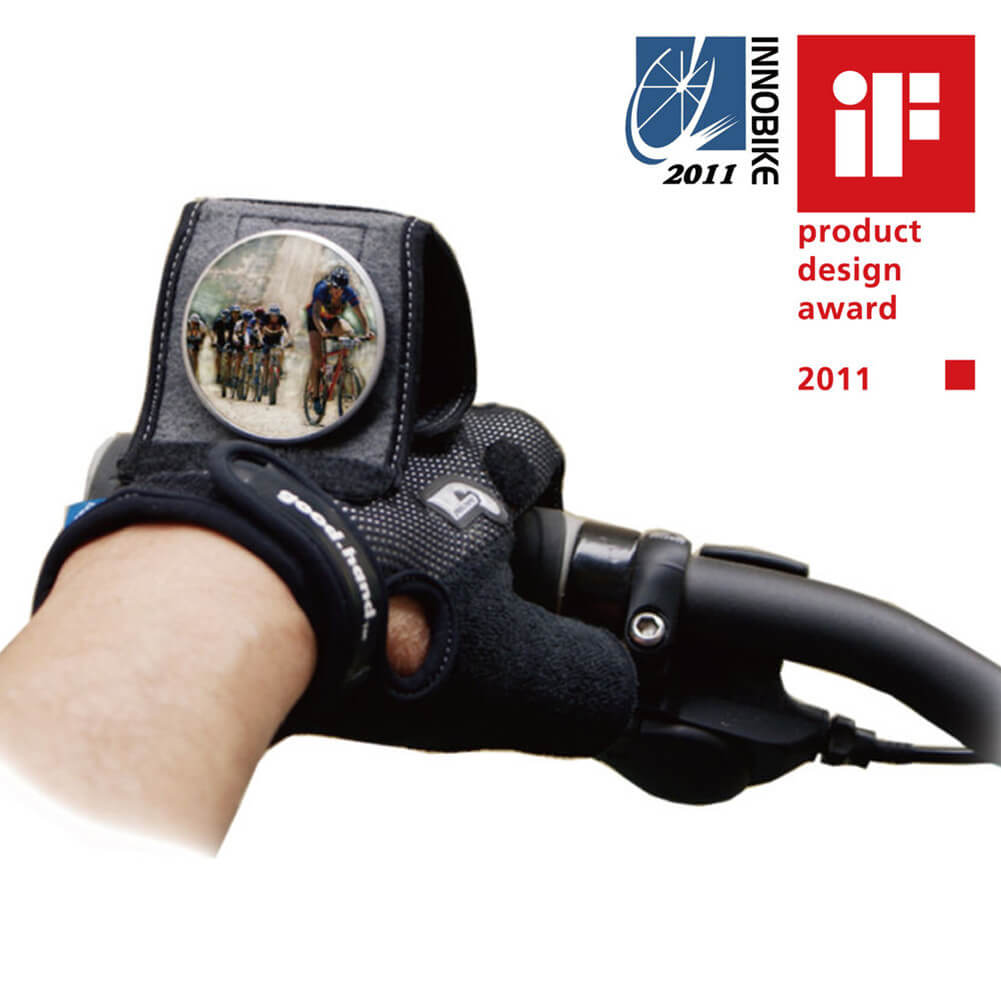 Adjustable Bike Mirror Combined with Half Finger Gloves - WEST BIKING