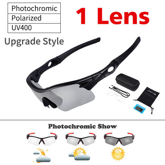 Photochromic Rimless Bicycle Glasses Sunglasses Goggles Cycling Eyewear