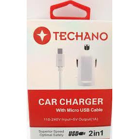 Techano Dual Car Charger with Type-C USB Cable - Mobilebarn®