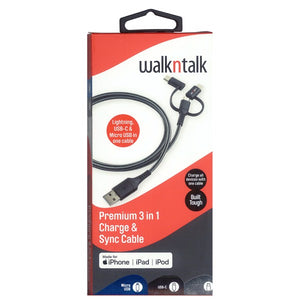 WalknTalk 3 in 1 Charge & Sync Cable - Mobilebarn®