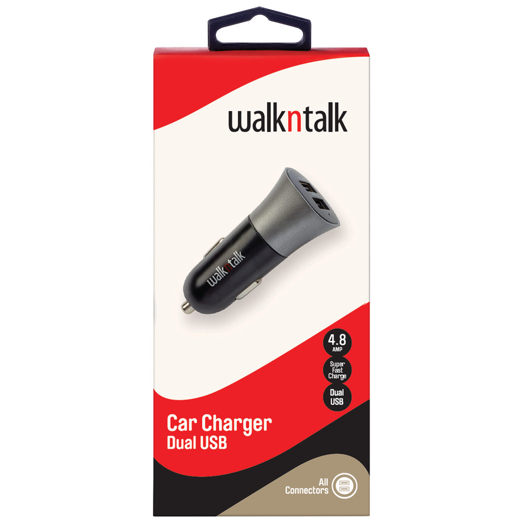 WalknTalk 4.8 Amp Dual USB Car Charger - Mobilebarn®