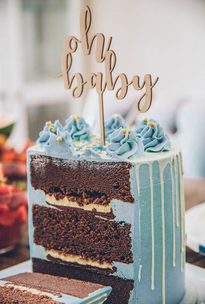 Chocolate Cake With Salted Caramel And Royal Blue Buttercream Frosting