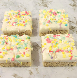 Spring Chocolate Dipped Rice Krispie Bars