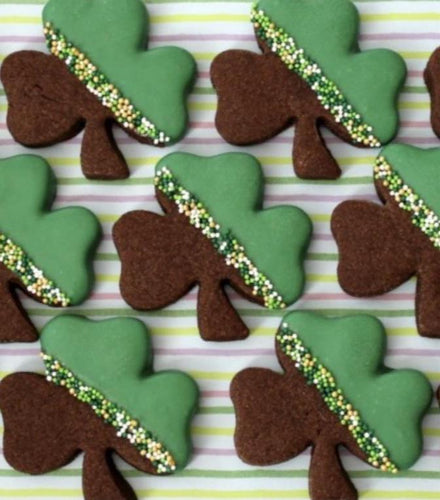 St. Patrick's Day Chocolate Dipped Shamrock Cookies