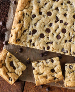 Fudge Stuffed Chocolate Chip Cookie Bars - Bouchée Douce Bakery