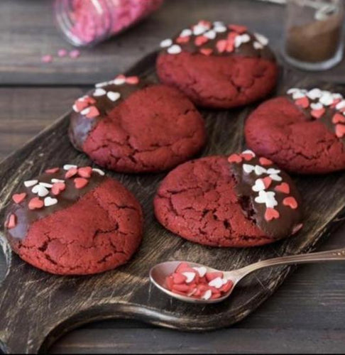 Chocolate Dipped Red Velvet Valentine Cookies