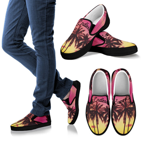 All Over Print Custom Slip On Shoes Men's Women's Kids Palm Life Pink Moment  3D Print Custom Sneakers - la-pool-guys