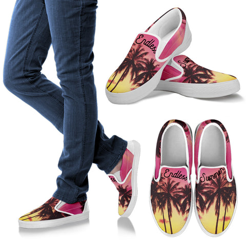 Image of All Over Print Custom Slip On Shoes Men's Women's Kids Palm Life Pink Moment  3D Print Custom Sneakers - la-pool-guys