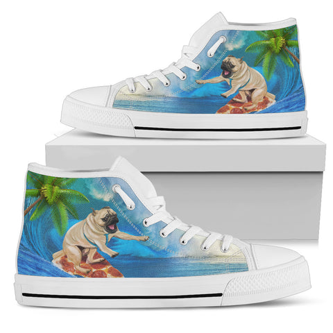 Pug Life Summer Vacation Women's High Top Pizza Pup Surfing - la-pool-guys