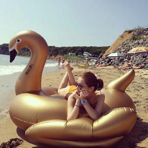 ENDLESS GOLDELUX Giant Inflatable Golden Swan - Luxurious Pool Float - Achieve Maximum Chill