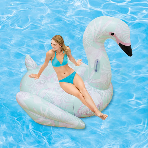 Image of Ride-On Floral Print Flamingo - la-pool-guys
