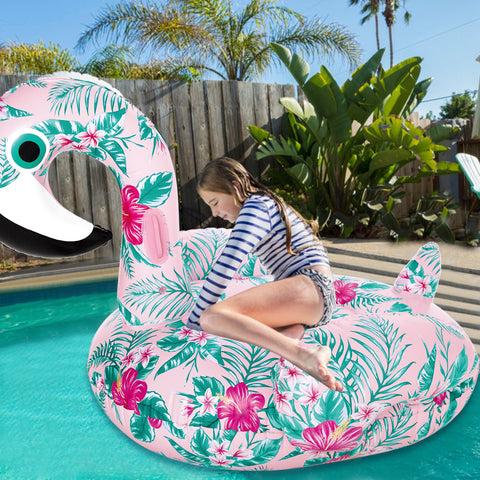 Ride-On Floral Print Flamingo - la-pool-guys