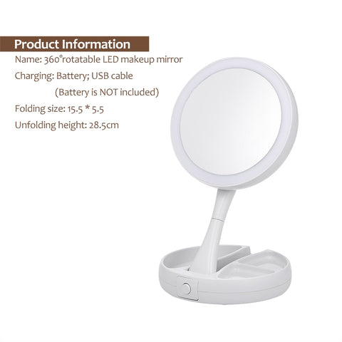 Portable LED Lighted Makeup Mirror Vanity Compact Make Up Pocket mirrors Vanity Cosmetic hand Mirror 10X Magnifying Glasses New [variant_title] - think-endless-summer-inc