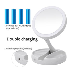 Portable LED Lighted Makeup Mirror Vanity Compact Make Up Pocket mirrors Vanity Cosmetic hand Mirror 10X Magnifying Glasses New