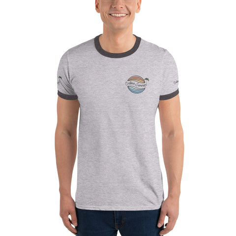 Endless Summer Original Logo Classic Ringer T-Shirt Semi Fitted 1950's 60s Throwback Vintage Design Heather Grey/Dark Grey / S - think-endless-summer-inc