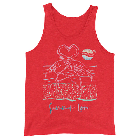 Endless Summer Inc. Love Birds Series Flamingo Love Adult Unisex Premium Tank Top Red Triblend / XS - think-endless-summer-inc