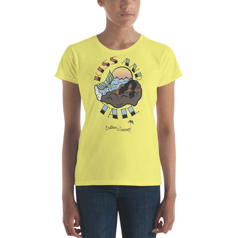 Kiss And Tail Black Mermaid Summer Tee Shirt  - Diversity In Design Series 1 of 4 - Women's short sleeve t-shirt Spring Yellow / S - think-endless-summer-inc