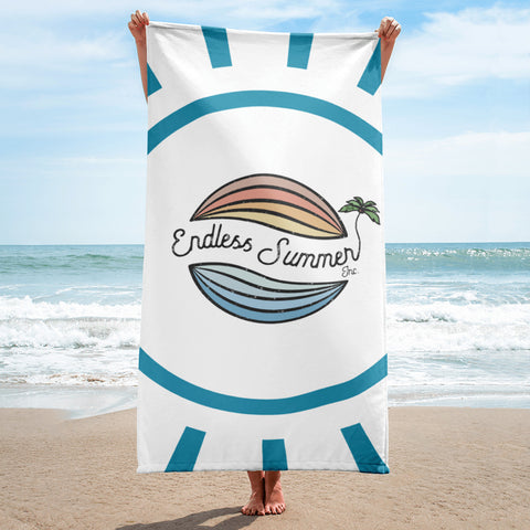 Endless Summer Beach Towel - Original Brand Logo Vintage Style - Beach, Sunset, Palm Tree Design - la-pool-guys