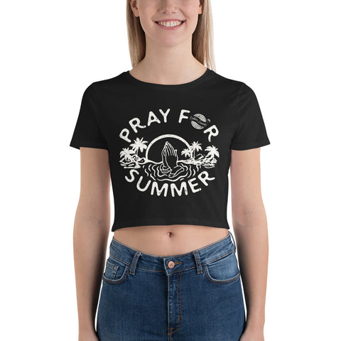 Pray For Summer Womens California Crop Tee - la-pool-guys