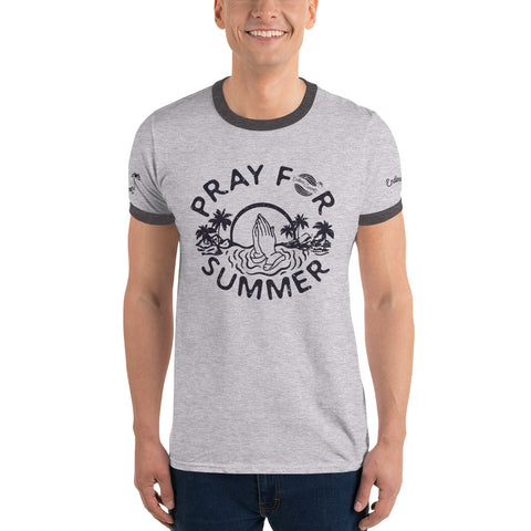 Image of Endless Summer Inc. Pray For Summer Classic Throwback Vintage Ringer T-Shirt - Sunset Palm Tree Funny Graphic Tee Heather Grey/Dark Grey / S - think-endless-summer-inc