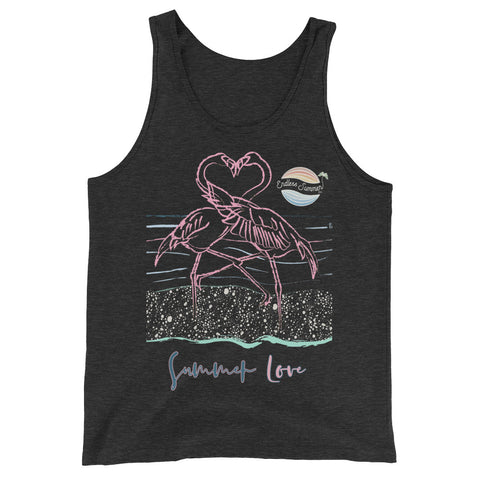 Endless Summer Inc. Love Birds Series Flamingo Love Adult Unisex Premium Tank Top Charcoal-black Triblend / XS - think-endless-summer-inc