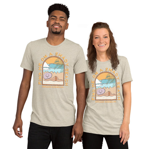 Find Me On a Shady Beach Short sleeve Unisex T-shirt Oatmeal Triblend / XS - think-endless-summer-inc
