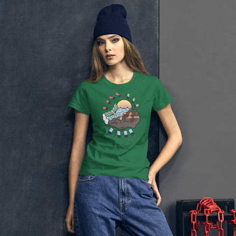 Image of Endless Summer Kiss And Tail -Brunette Mermaid Tee Diversity In Design Series 4 of 4 Women's Premium Tee - la-pool-guys