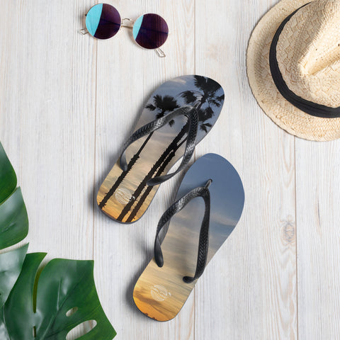 Image of Sunset Graphic Design Flip-Flops Endless Summer Inc. Brand Logo Print Palm Tree Beach Slippers S - think-endless-summer-inc