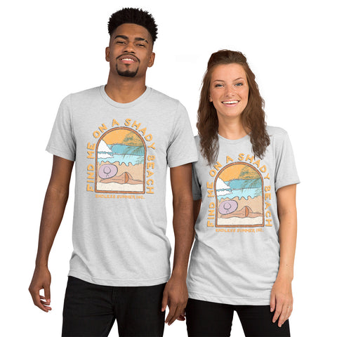 Find Me On a Shady Beach Short sleeve Unisex T-shirt White Fleck Triblend / XS - think-endless-summer-inc