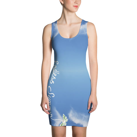 Image of Endless Blue Sky Summer Dress - Body Contour Back Logo Designer Hand Sewn Fitted Dress - la-pool-guys