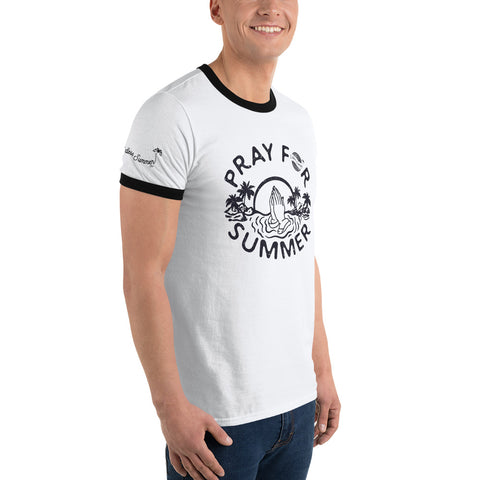 Endless Summer Inc. Pray For Summer Classic Throwback Vintage Ringer T-Shirt - Sunset Palm Tree Funny Graphic Tee - la-pool-guys