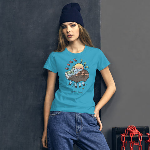 Endless Summer Kiss And Tail -Brunette Mermaid Tee Diversity In Design Series 4 of 4 Women's Premium Tee Caribbean Blue / S - think-endless-summer-inc